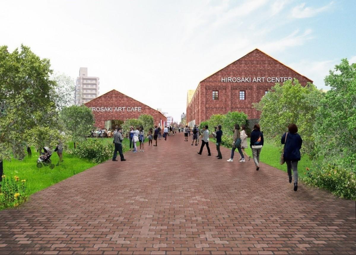 外観イメージ。左からC棟、A・B棟。2棟の間に「ミュージアム・ロード」が設置される